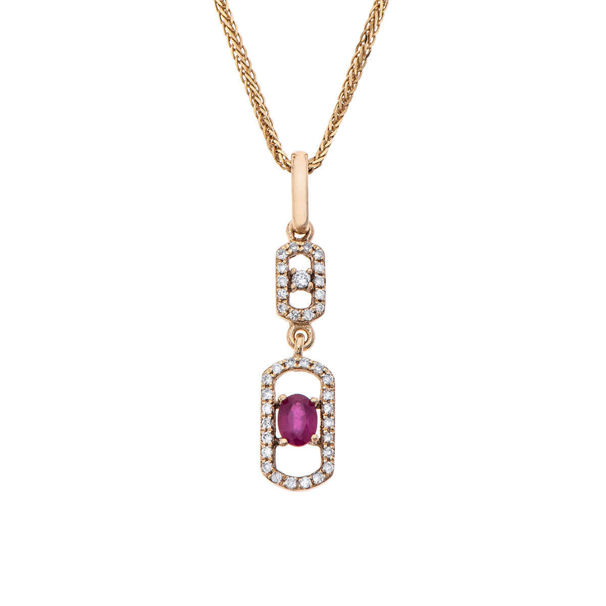 Natural Ruby and Diamonds Pendant_PD3484RU-Y1